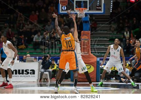 VALENCIA, SPAIN - FEBRUARY 11: Sato 10 during Eurocup match between Valencia Basket Club and Lokomotiv Kuban Krasnodar at Fonteta Stadium on February 11, 2014 in Valencia, Spain