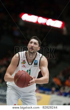 VALENCIA, SPAIN - FEBRUARY 11: Kurbanov during Eurocup match between Valencia Basket Club and Lokomotiv Kuban Krasnodar at Fonteta Stadium on February 11, 2014 in Valencia, Spain