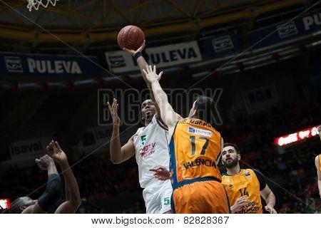 VALENCIA, SPAIN - FEBRUARY 11: Brown with ball during Eurocup match between Valencia Basket Club and Lokomotiv Kuban Krasnodar at Fonteta Stadium on February 11, 2014 in Valencia, Spain