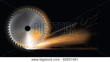 Circular saw sparks
