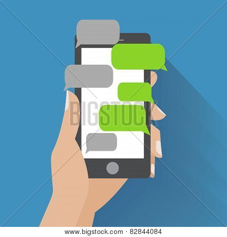 Hand holding smartphone with blank speech bubbles