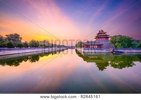 Beijing, China forbidden city outer moat at dawn.
