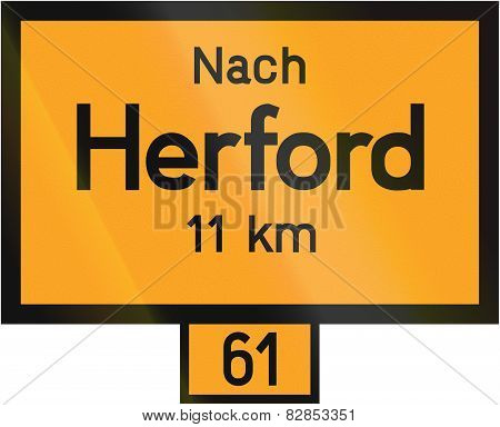 Old design (1937) of a sign telling the distance to the city of Herford on the federal road number 61. The text means: To Herford 11 km poster