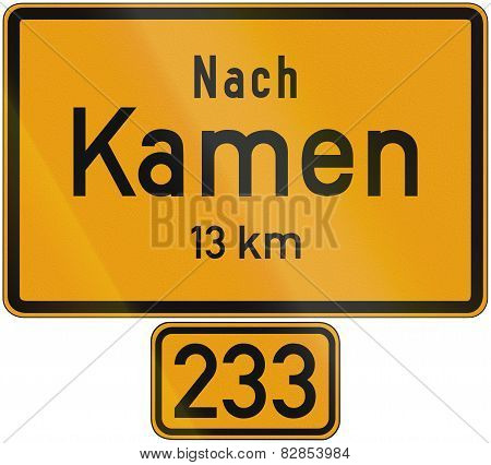 Old design (1956) of a sign telling the distance to the city of Kamen on the federal road number 233. The text means: To Kamen 13 km poster