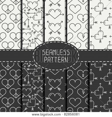 Set of monochrome romantic geometric seamless pattern with hearts. Collection of paper for scrapbook