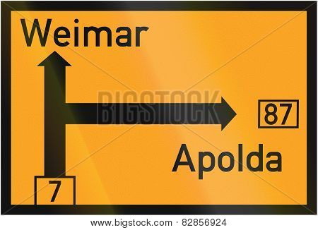 Direction Sign To Weimar And Apolda 1937