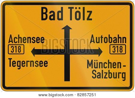 Direction Sign To Bad Toelz 1956