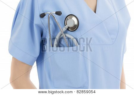 Doctor Standing With Her Stethoscope In Her Pocket
