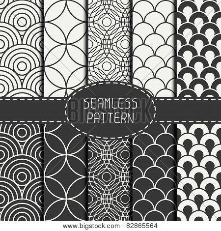 Set of monochrome fashion geometri seamless pattern with circles. Collection of paper for scrapbook.