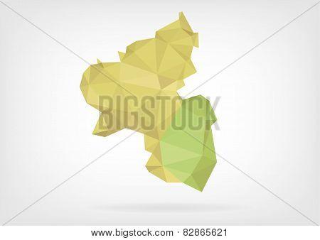 Low Poly map of german region Rheinland-Pfalz
