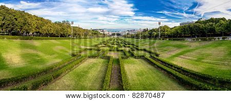 Eduardo VII park in Lisbon Portugal in a beautiful summer day poster
