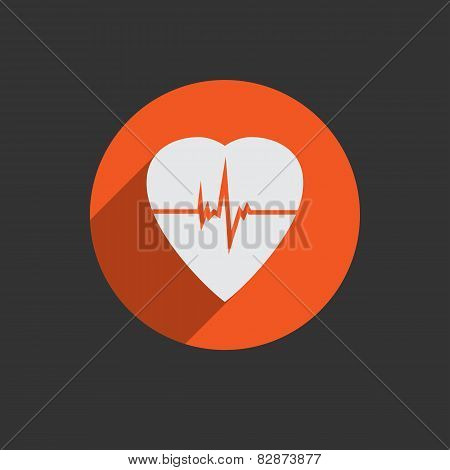 Defibrillator Heart Icon Isolated On Red B