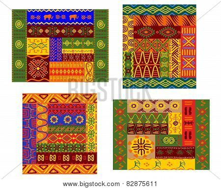 African primitive geometric ornamental pattern