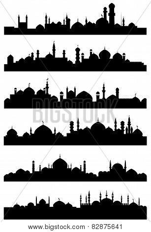 Islamic or arabic cityscape black silhouettes