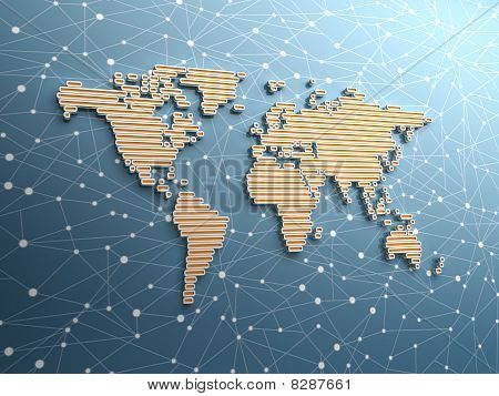 Rectangular shaped world map with global network