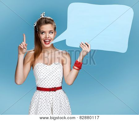 Young talkative woman showing sign speech bubble banner looking happy excited