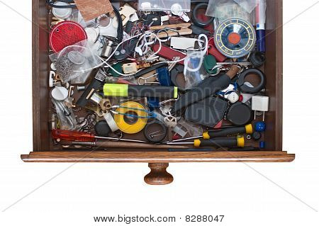 Lots Of Things In The Drawers Of His Desk