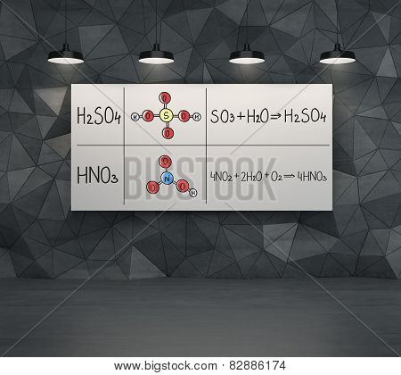 Chemical elements H2SO4 HNO3 on white placard poster