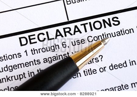 Close up view of the declaration section in a document