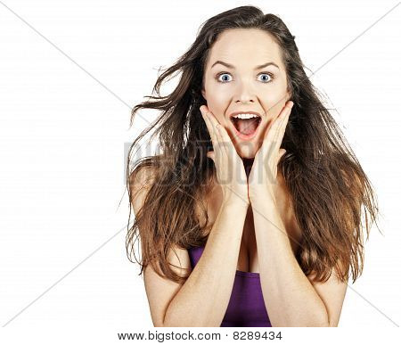 Young Beautiful Surprised Woman