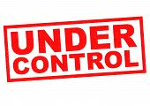 UNDER CONTROL red Rubber Stamp over a white background. poster