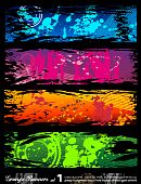 Abstract Urban Style Grunge Banners with rainbow colours poster