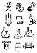 Medicine or drugs icons in outline sketch style with bottles, pills, capsules, syringes, drops, tubes, droppers, stethoscope and pharmacy symbol for drugstore or medicament design poster