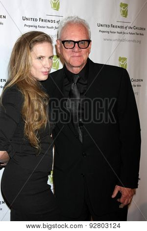 LOS ANGELES - JUN 2:  Kelley Kuhr, Malcolm McDowell at the United Friends of the Children Brass Ring Awards Dinner at the Beverly Hilton Hotel on June 2, 2015 in Beverly Hills, CA