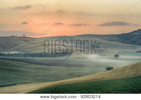 Sunrise Over The Crete Senesi