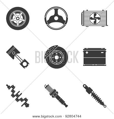 Vector set of auto spare parts. Gear and spark plug, wheel and radiator, accumulator and transmission poster