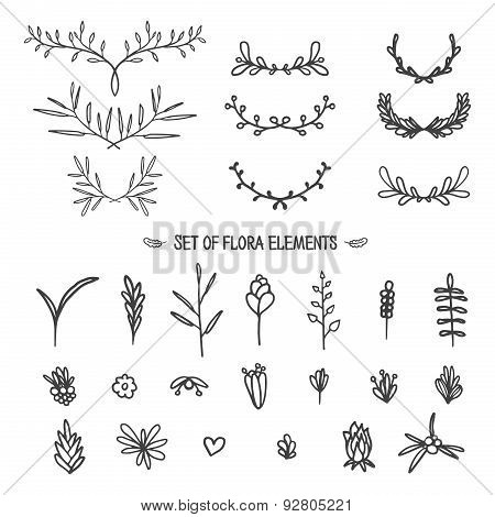 Big set of vintage floral elements. Doodle style. Vector.