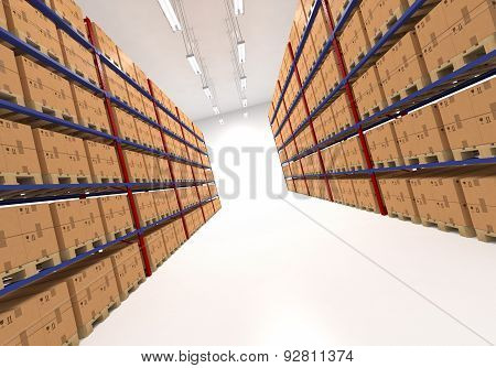 Warehouse shelves filled with boxes.