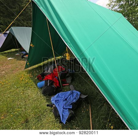 Tent Of Boy Scout Camp With Backpacks And Sleeping
