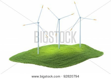 Island With Wind Turbines Floating In The Air On Sky Background
