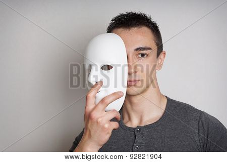 young man with mask