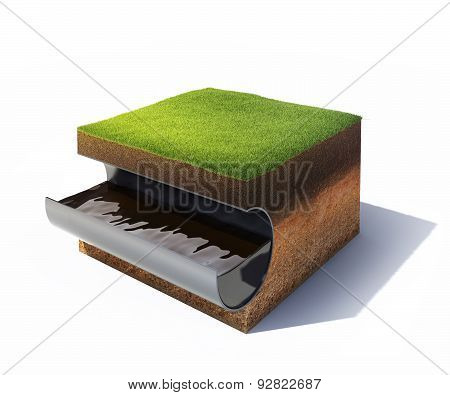 cross section of ground with grass and steel pipe with oil isolated on white
