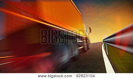 Truck Driving On Highway Road On Sunset