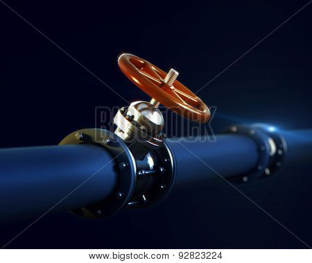 metal pipeline with valve and red handwheel