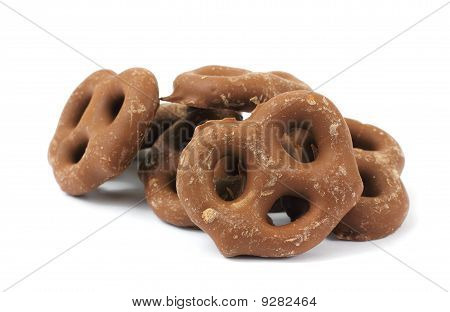 Several Milk Chocolate Covered Pretzels