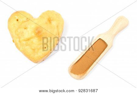 Heart Of Baked Apple Muffin And Powdery Cinnamon
