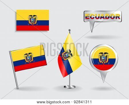Set of Ecuadorian pin, icon and map pointer flags. Vector