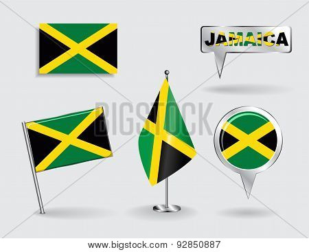 Set of Jamaican pin, icon and map pointer flags. Vector