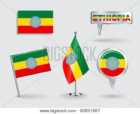 Set of Ethiopian pin, icon and map pointer flags. Vector
