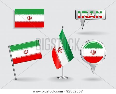 Set of Iranian pin, icon and map pointer flags. Vector