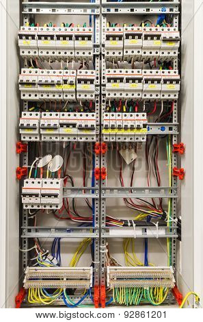 Control panel with many circuit breakers