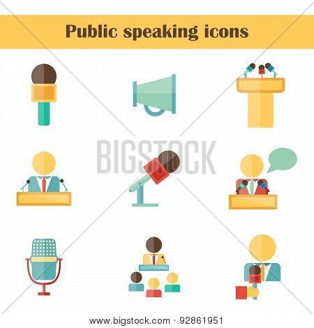 Set of isolated flat icons on public speaking theme with people, microphones, speakers, tribunes for