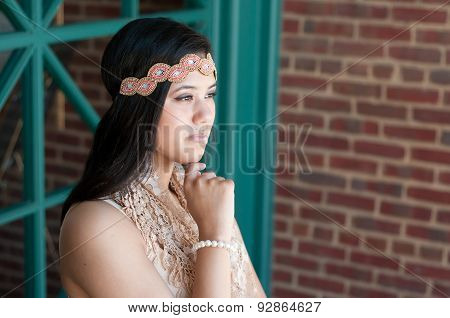 Attractive Teen Looking Off In Distance