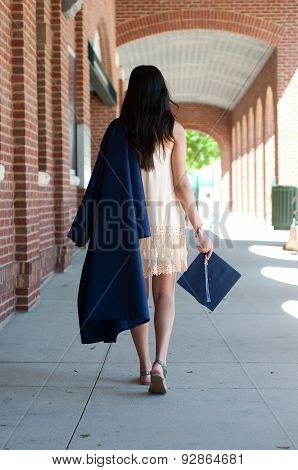 High School Graduate Girl Walking