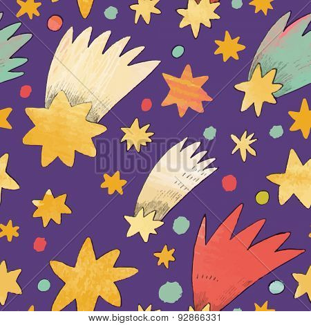 Awesome cosmic seamless pattern made of stars and comets in bright colors. Lovely night sky concept background in vector