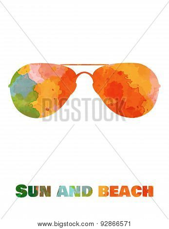 Hand drawn card background with tourism objects: sun glasses.